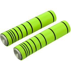 absoluteBLACK Dual Density MTB Silicone Grips with Alu Bar Plugs, lime green